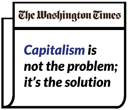 """Image showing newspaper headlined """"Capitalism is not the problem; it's the solution"""""""